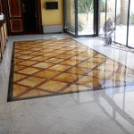 Hotel wall cladding and floor paving in marble