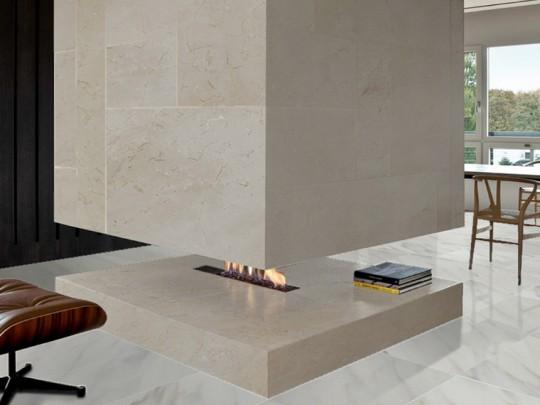 Modern Fireplace Marble Crema Marfil Calacatta Luccicoso