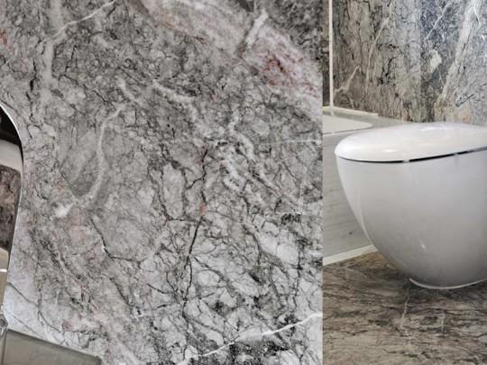 Bathroom walls and floor cladding in Grigio Fior di Pesco Carnico, Calacatta